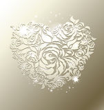 Floral heart on pearl background. Heart shaped pearl background - with a space for a text - love greeting card for weddings, st. valentines, anniversary Stock Photography