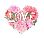 Floral heart - pink peony flowers and text Love. Watercolor Royalty Free Stock Photo