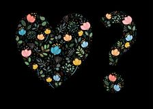 Floral Heart and Question Mark. Watercolor flowers and plants. Black background. Vector Illustration Stock Photography