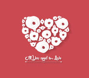 Floral Heart on Red Background Stock Photo