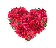 Floral heart with red rose flowers. Watercolor for Valentine day royalty free stock photography