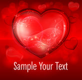 Floral heart on red & text Royalty Free Stock Image