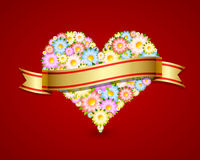 Floral heart with ribbon Stock Images