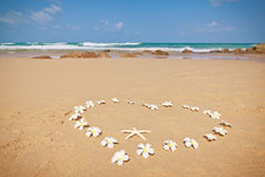 Floral heart on the sand. Heart of white frangipani flowers on a sandy beach Royalty Free Stock Image