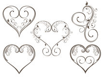 Floral Heart Scrolls Stock Images