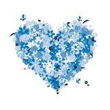 Floral heart shape, love. Illustration Stock Image