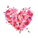 Floral heart shape, love Royalty Free Stock Image
