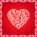 Floral heart. Heart shape made of decorative floral pattern, decorative frame. Love texture - vector illustration, well layered, you can change color and shapes Royalty Free Stock Image
