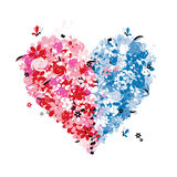 Floral heart shape of two halves Royalty Free Stock Photography