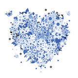 Floral heart shape for your design Royalty Free Stock Photo