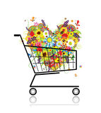 Floral heart in shopping cart for your design Royalty Free Stock Photography