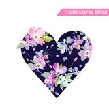 Floral Heart Spring Graphic Design with Dogwood Blossom Flowers for Fashion Print, T-shirt, Banner, Greeting Card, Invitation Royalty Free Stock Photos