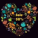 Floral heart with text Sale Fifty percents royalty free stock images