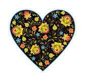 Floral heart with traditional russian pattern Stock Photography