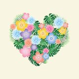 Floral Heart - Valentine`s Day Illustration - vector eps10. Tropical flowers Royalty Free Stock Photography