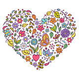 Floral heart on white  background. Stock Photos