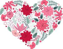 Floral heart on white made of flowers Stock Images