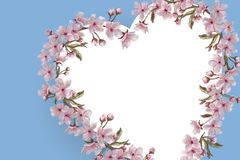 Floral Heart Wreath on Blue with Text Space. Watercolor Hand Painted Floral Wreath. Pink Flowers on Blue Background. royalty free illustration