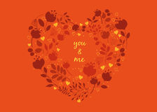 Floral heart. Yoy and me Stock Image