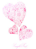 Floral hearts. Beautiful floral hearts valentines card stock illustration
