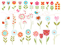 Floral hearts. Set of floral design elements with hearts Stock Image