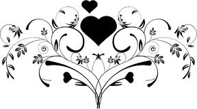 Floral hearts. A beautiful decorative floral heart pattern design Royalty Free Stock Photo