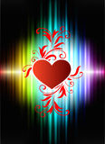 Floral Hearts on Abstract Spectrum Background Stock Images
