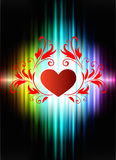 Floral Hearts on Abstract Spectrum Background Royalty Free Stock Photography