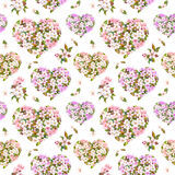 Floral hearts, apple and sakura flowers - cherry blossom . Seamless pattern for Valentine day. Vintage watercolor Royalty Free Stock Photos