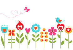 Floral hearts design. Retro floral design with flowers, bird, butterfly and space for your text Stock Photography