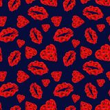 Poppy Hearts and Lips Seamless Pattern on Dark Blue Background. vector illustration
