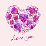 Floral hearts Royalty Free Stock Images