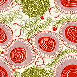 Floral hearts seamless background Stock Photos