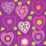 Floral hearts - seamless pattern Royalty Free Stock Photos