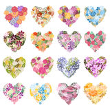 Floral hearts set. 16 elegant floral hearts, design elements. Can be used for wedding, baby shower, mothers day, valentines day, birthday cards, invitations Stock Illustration