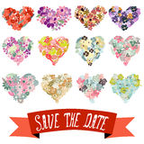 Floral hearts set Stock Photography