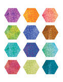 Floral Hexagons. A set of hexagons with a floral pattern and a watercolor texture in various colors Stock Image