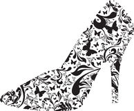 Floral high heel. A silhouette of a floral high heel Royalty Free Stock Photos