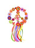 Floral hippie wreath with peace symbol and colorful ribbon Stock Photo