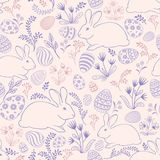 Floral holiday pattern. Easter bunny, eggs seamless background. Stock Images