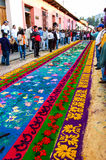 Floral Holy Week carpet, Antigua, Guatemala Royalty Free Stock Images