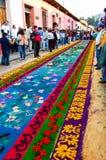 Floral Holy Week carpet, Antigua, Guatemala Royalty Free Stock Images