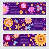 Floral horizontal banner vector templates in cartoon style stock photo