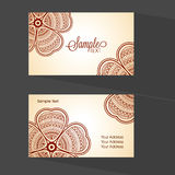 Floral Horizontal Business Card or Visiting Card. Stock Photos