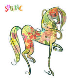 Floral horse. Beautiful hoese painted in black line with floral pattern stock illustration