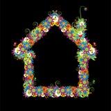 Floral house shape. vector illustration