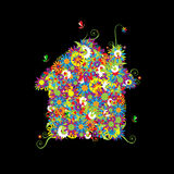 Floral house shape. Stock Photography