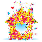 Floral house, vector illustration Royalty Free Stock Image