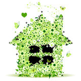 Floral house, vector illustration Royalty Free Stock Photos