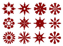 Floral Icon Set in Dark Red Isolated on White Background Stock Images